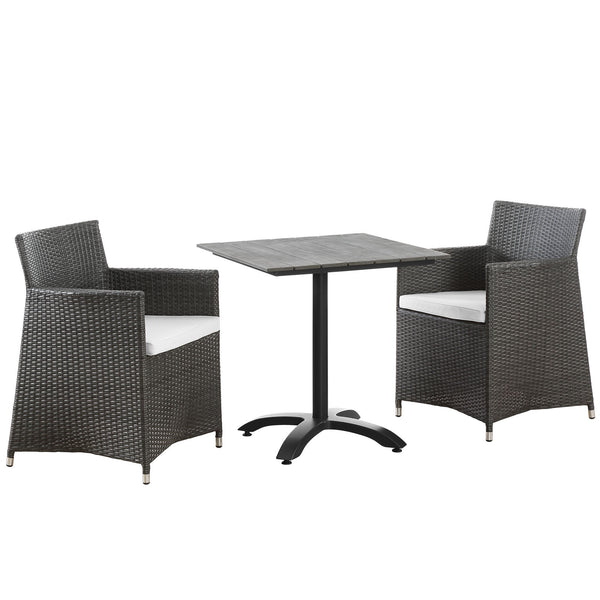 Junction 3 Piece Outdoor Patio Dining Set - Brown White