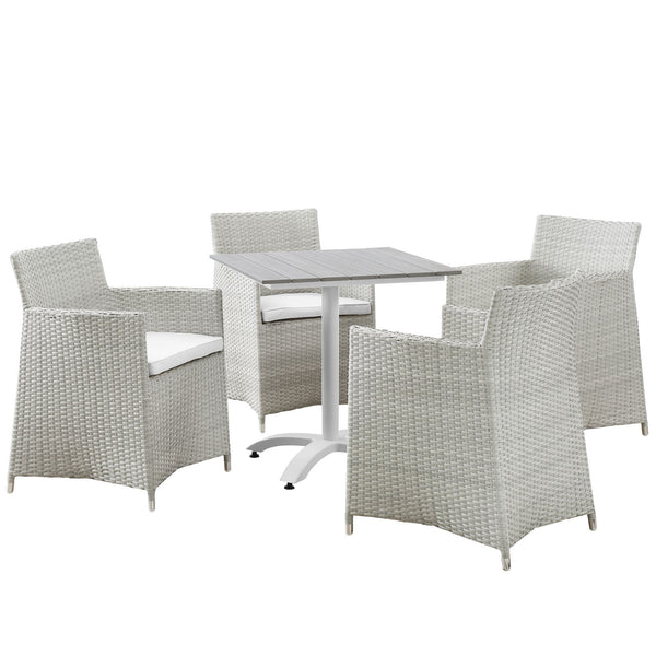 Junction 5 Piece Outdoor Patio Dining Set - Gray White
