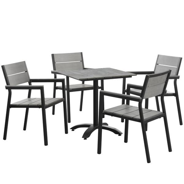 Maine 5 Piece Outdoor Patio Dining Set - Brown Gray