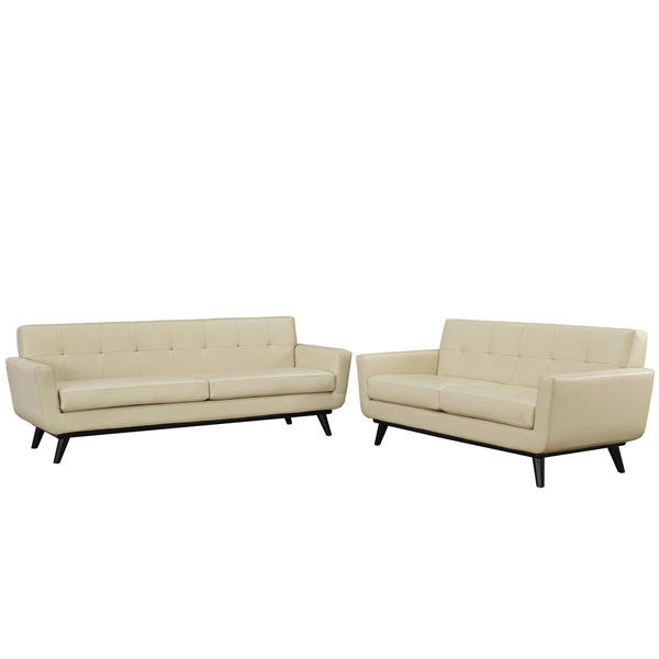 Engage 2 Piece Leather Living Room Set - Beige