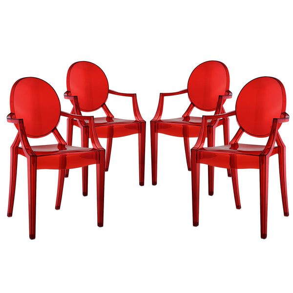 Casper Dining Armchairs Set of 4 - Red