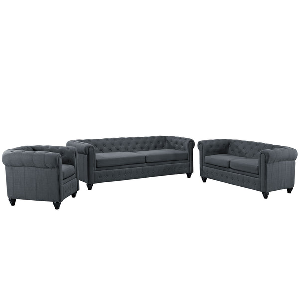 Earl 3 Piece Fabric Living Room Set - Gray