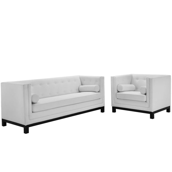 Imperial 2 Piece Living Room Set - White
