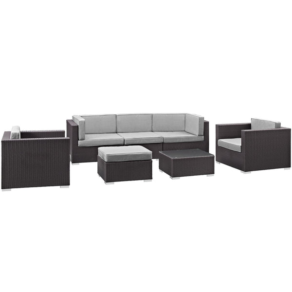 Gather 7 Piece Outdoor Patio Sectional Set - Espresso Gray