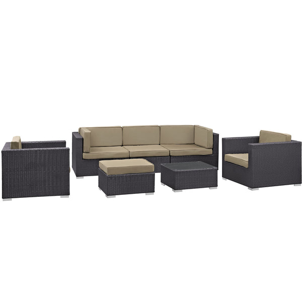 Gather 7 Piece Outdoor Patio Sectional Set - Espresso Mocha