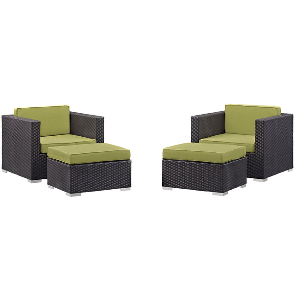 Gather 4 Piece Outdoor Patio Sectional Set - Espresso Peridot