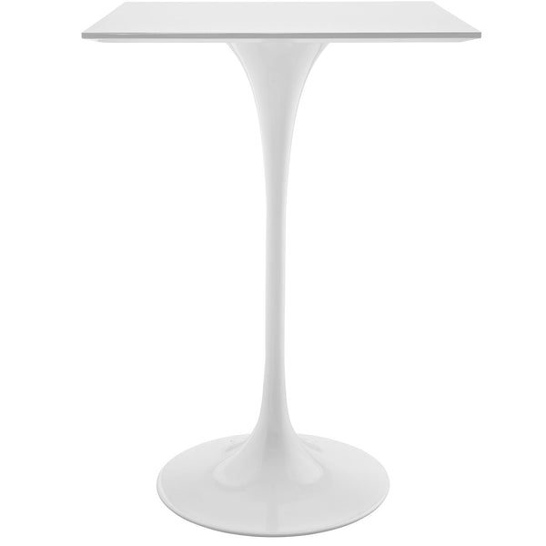 "Lippa 28"" Square Wood Top Bar Table - White"