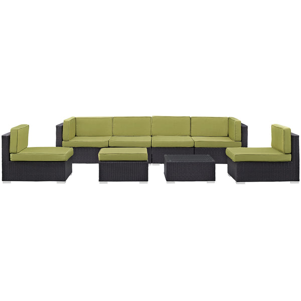 Gather 8 Piece Outdoor Patio Sectional Set - Espresso Peridot