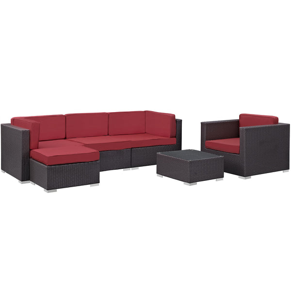 Gather 6 Piece Outdoor Patio Sectional Set - Espresso Red
