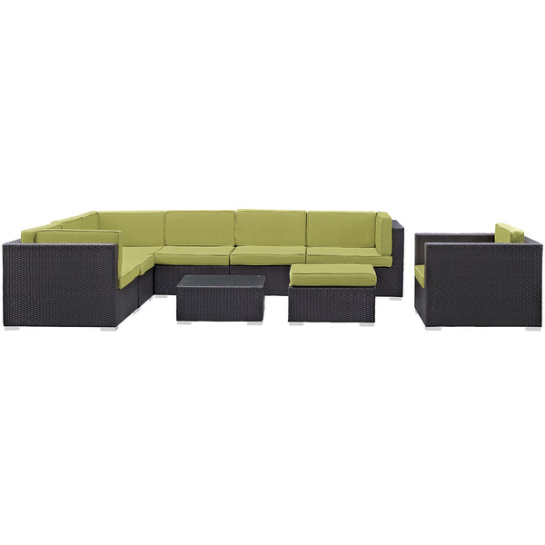 Gather 9 Piece Outdoor Patio Sectional Set - Espresso Peridot