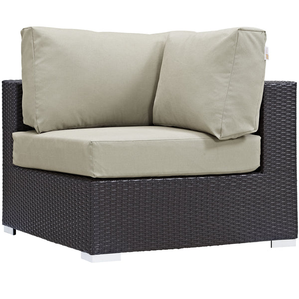 Convene Outdoor Patio Corner - Espresso Beige