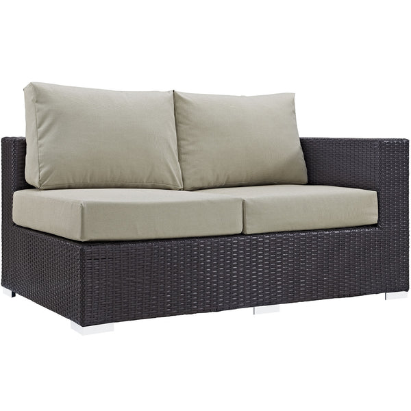 Convene Outdoor Patio Right Arm Loveseat - Espresso Beige
