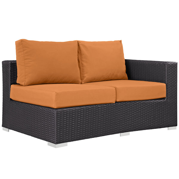 Convene Outdoor Patio Right Arm Loveseat - Espresso Orange