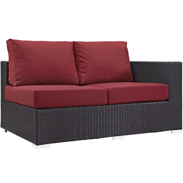 Convene Outdoor Patio Right Arm Loveseat - Espresso Red