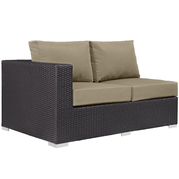 Convene Outdoor Patio Left Arm Loveseat - Espresso Mocha