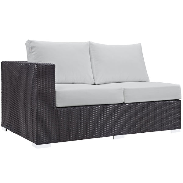 Convene Outdoor Patio Left Arm Loveseat - Espresso White