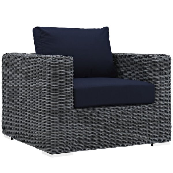 Summon Outdoor Patio Fabric Sunbrella® Armchair - Canvas Navy
