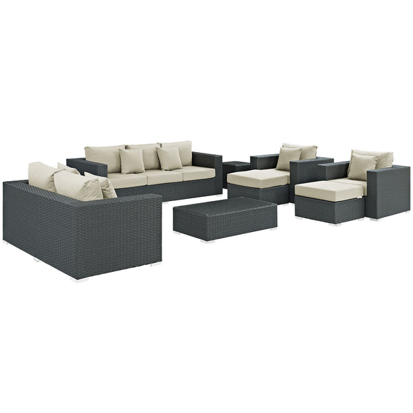 Sojourn 9 Piece Outdoor Patio Sunbrella® Sectional Set - Canvas Antique Beige