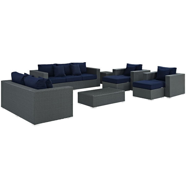 Sojourn 9 Piece Outdoor Patio Sunbrella® Sectional Set - Canvas Navy