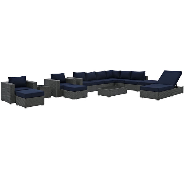 Sojourn 12 Piece Outdoor Patio Sunbrella® Sectional Set - Canvas Navy