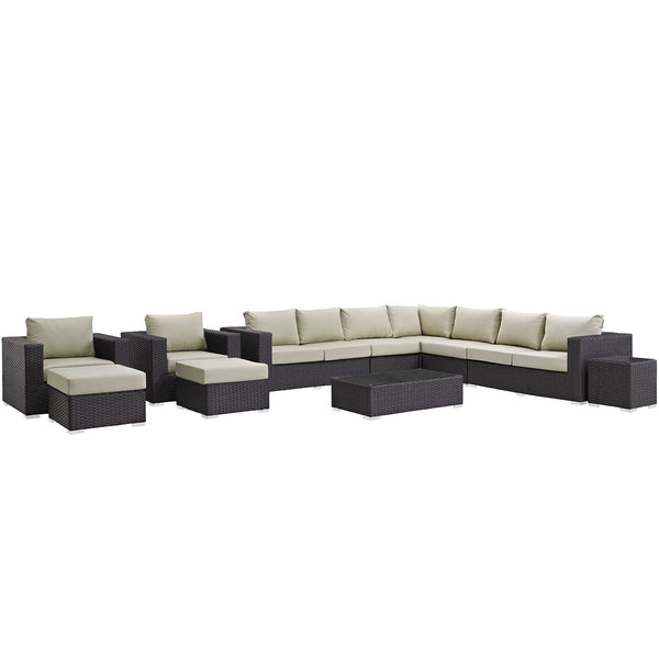 Sojourn 11 Piece Outdoor Patio Sunbrella® Sectional Set - Canvas Antique Beige