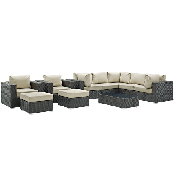 Sojourn 10 Piece Outdoor Patio Sunbrella® Sectional Set - Canvas Antique Beige