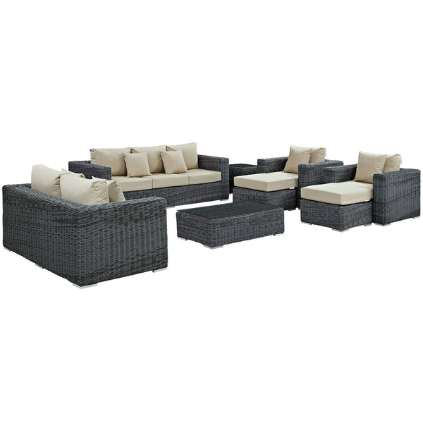 Summon 9 Piece Outdoor Patio Sunbrella® Sectional Set - Canvas Antique Beige