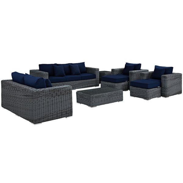 Summon 9 Piece Outdoor Patio Sunbrella® Sectional Set - Canvas Navy
