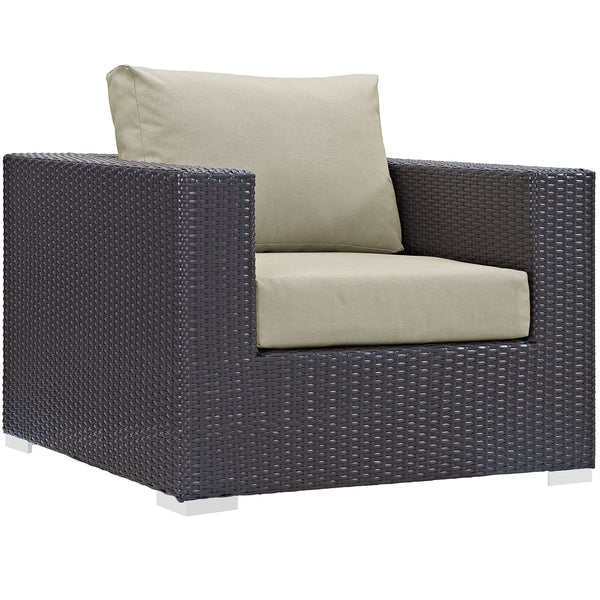 Convene Outdoor Patio Armchair - Espresso Beige