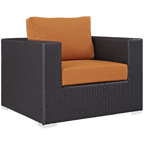 Convene Outdoor Patio Armchair - Espresso Orange