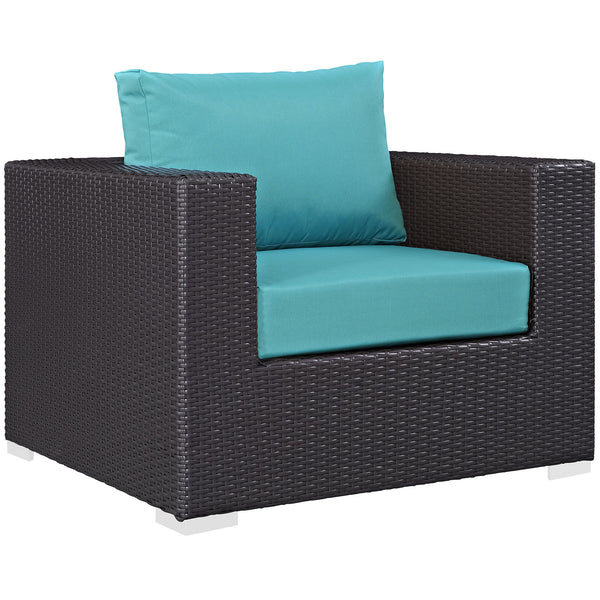 Convene Outdoor Patio Armchair - Espresso Turquoise