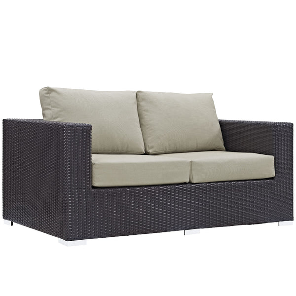 Convene Outdoor Patio Loveseat - Espresso Beige