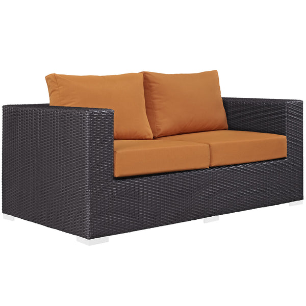 Convene Outdoor Patio Loveseat - Espresso Orange
