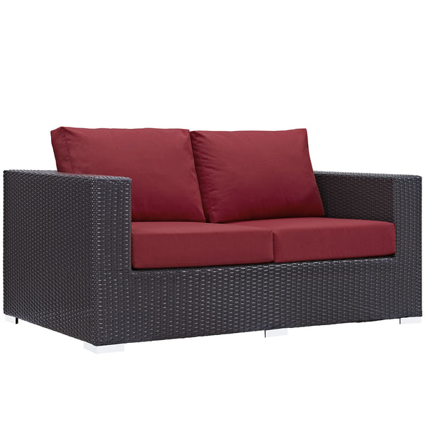 Convene Outdoor Patio Loveseat - Espresso Red