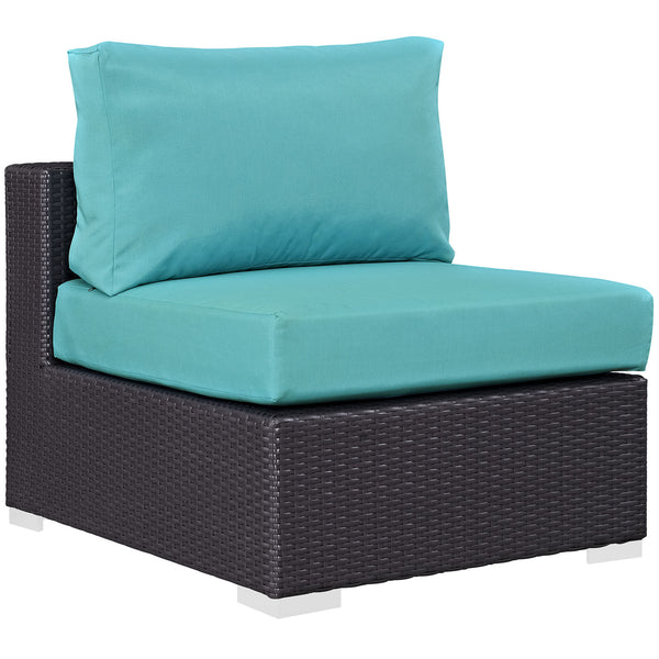 Convene Outdoor Patio Armless - Espresso Turquoise