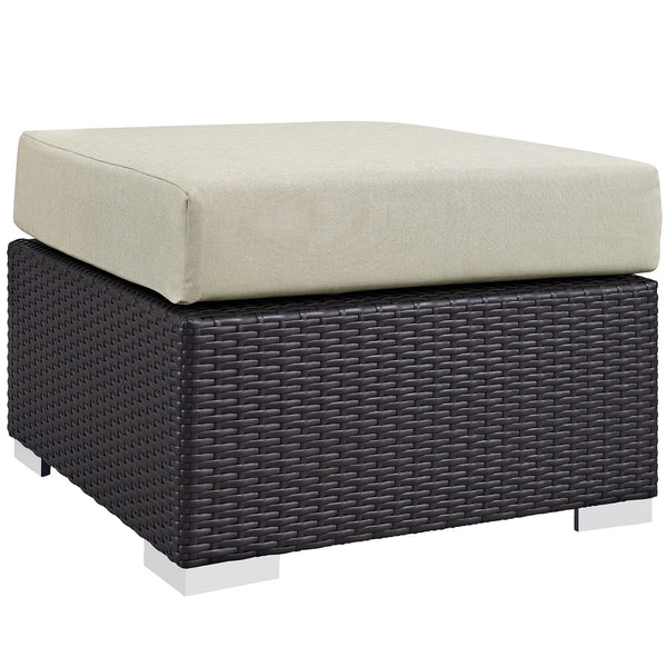 Convene Outdoor Patio Fabric Square Ottoman - Espresso Beige
