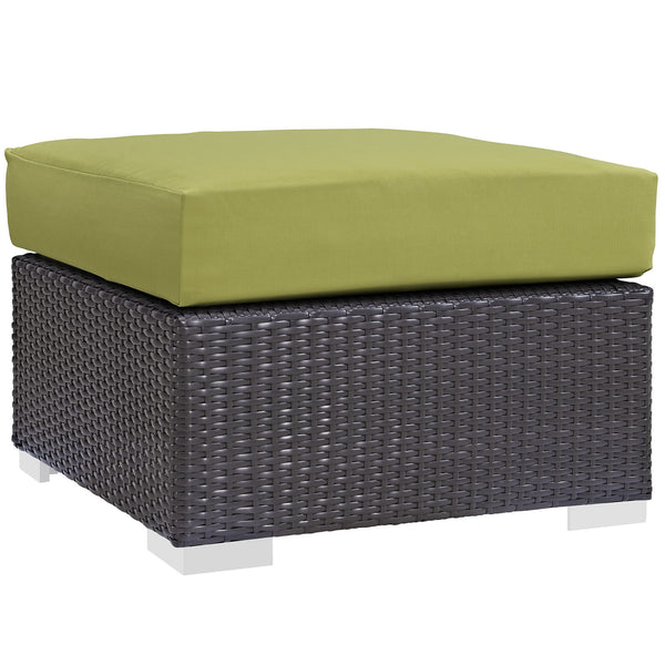 Convene Outdoor Patio Fabric Square Ottoman - Espresso Peridot