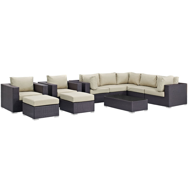 Convene 10 Piece Outdoor Patio Sectional Set - Espresso Beige