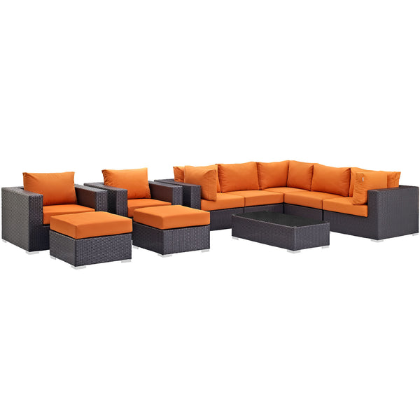 Convene 10 Piece Outdoor Patio Sectional Set - Espresso Orange