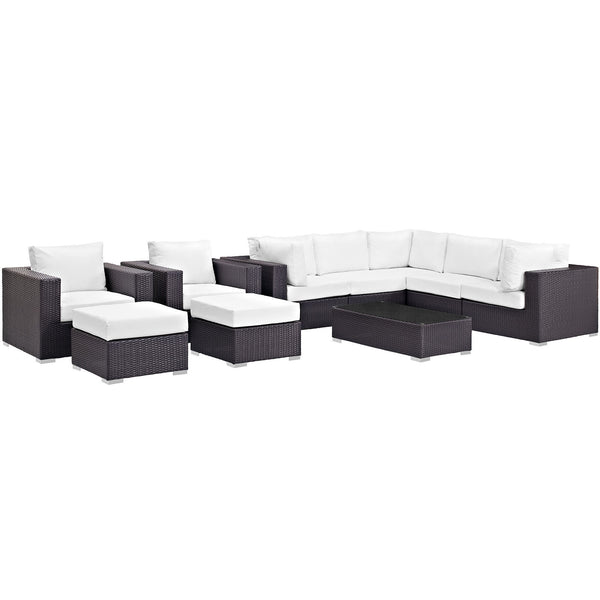 Convene 10 Piece Outdoor Patio Sectional Set - Espresso White