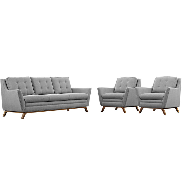 Beguile 3 Piece Fabric Living Room Set - Expectation Gray