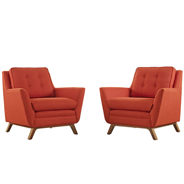 Beguile 2 Piece Fabric Living Room Set - Atomic Red