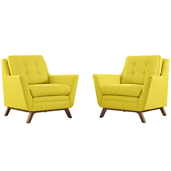 Beguile 2 Piece Fabric Living Room Set - Sunny