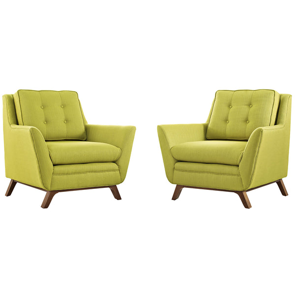 Beguile 2 Piece Fabric Living Room Set - Wheatgrass