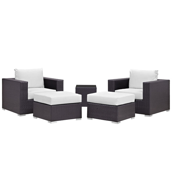 Convene 5 Piece Outdoor Patio Sectional Set - Espresso White
