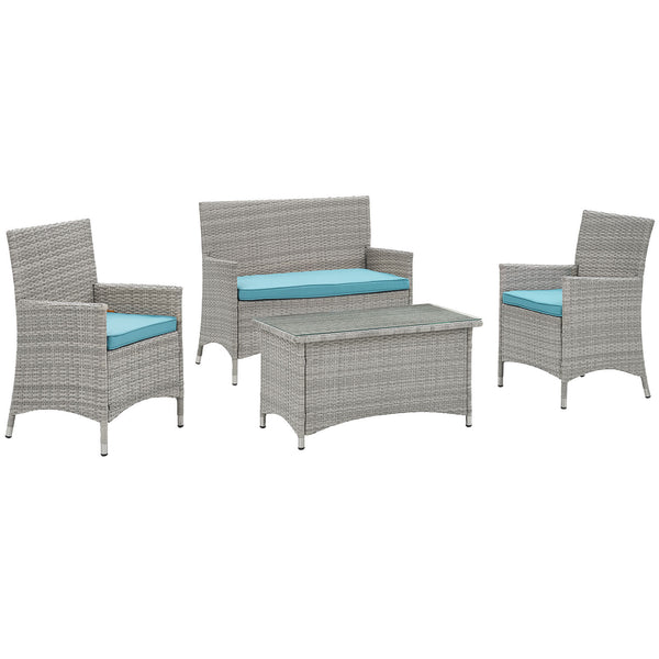 Bridge 4 Piece Outdoor Patio Patio Conversation Set - Light Gray Turquoise