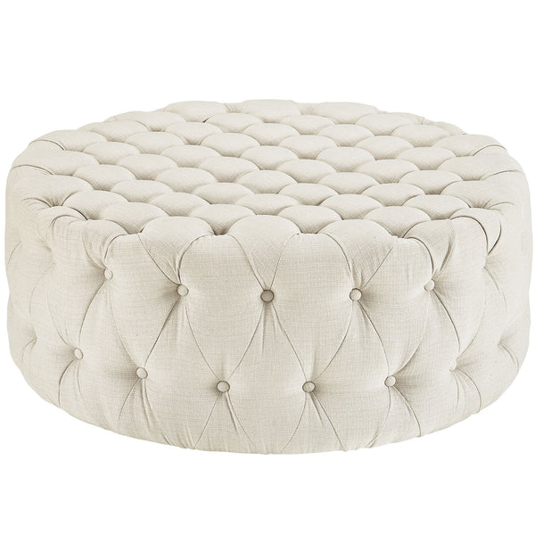 Amour Fabric Ottoman - Beige