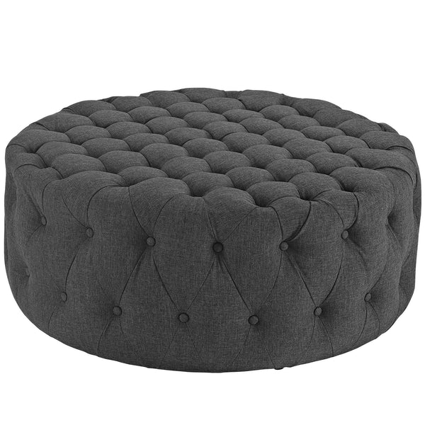Amour Fabric Ottoman - Gray