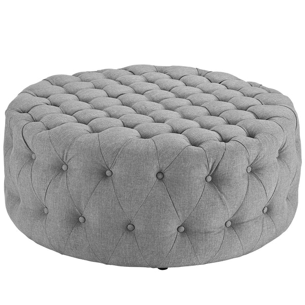 Amour Fabric Ottoman - Light Gray