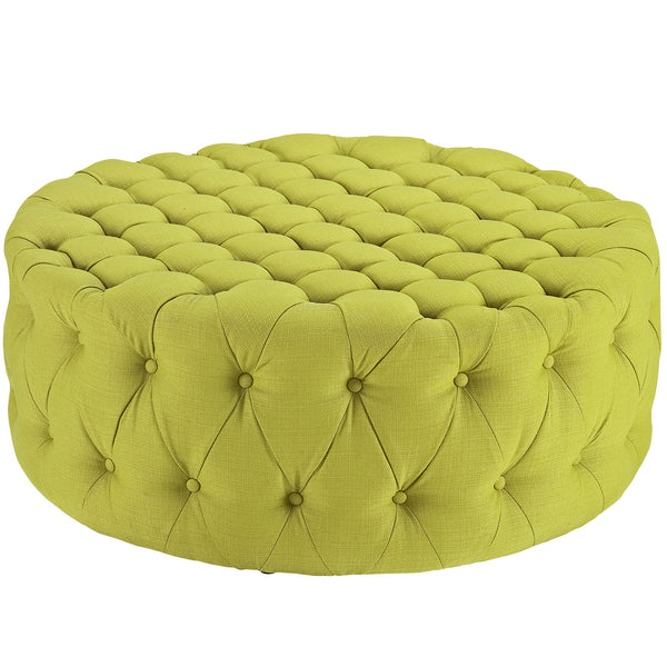 Amour Fabric Ottoman - Wheatgrass